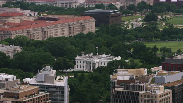 Aerial shot of the White House Rights-managed stock video