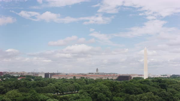 Aerial shot of Lincoln Memorial with Washington Monument Rights-managed stock video