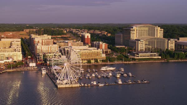 Aerial shot of National Harbor along Potomac River Rights-managed stock video