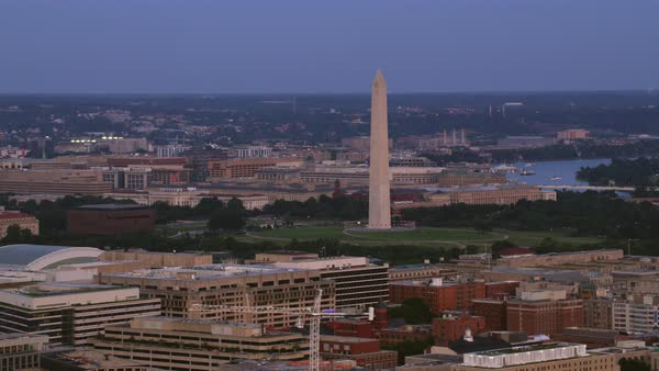 Aerial shot of Washington Monument Rights-managed stock video