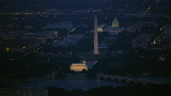 Aerial shot of National Mall in Washington DC at night Rights-managed stock video