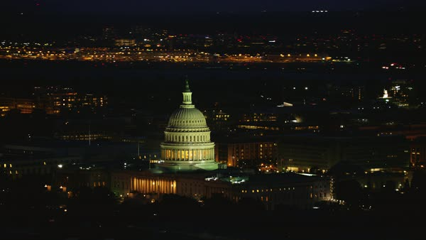 Aerial shot of United States Capitol at night Rights-managed stock video