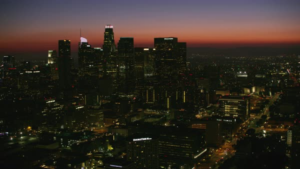 Aerial shot of skyscrapers of downtown Los Angeles Rights-managed stock video