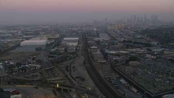 Aerial shot of an industrial area of Los Angeles Rights-managed stock video