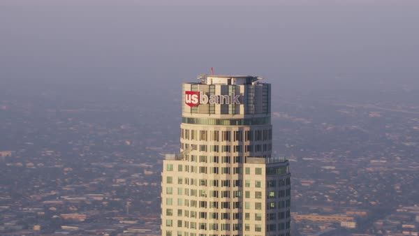 Aerial shot of US Bank Tower in downtown Los Angeles Rights-managed stock video