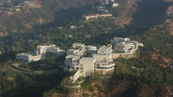 Aerial shot of Getty Center in Los Angeles Rights-managed stock video