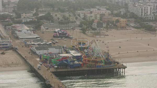 Aerial shot of an amusement park on Santa Monica Pier Rights-managed stock video