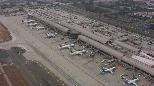 Aerial shot of an airport in Los Angeles Rights-managed stock video