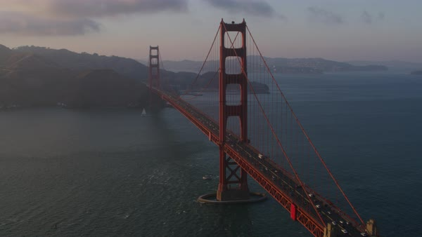 Aerial shot of Golden Gate Bridge at sunset Rights-managed stock video