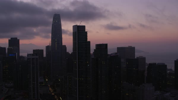 Aerial shot of skyscrapers in downtown San Francisco Rights-managed stock video