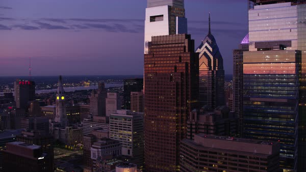 Aerial shot of skyscrapers of downtown Philadelphia at dawn Rights-managed stock video
