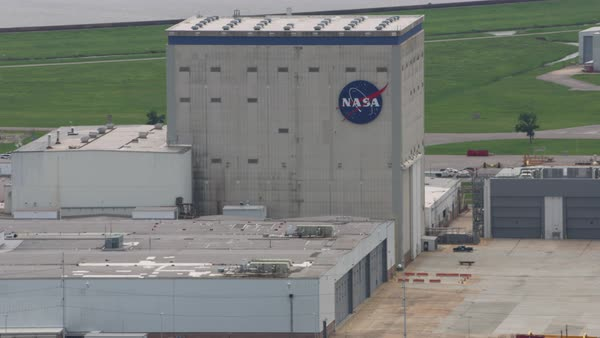 Aerial shot of rocket factory of NASA in Louisiana Rights-managed stock video