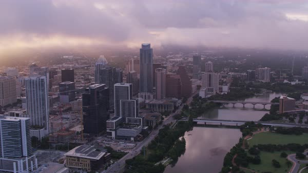 Aerial shot of Austin cityscape Rights-managed stock video