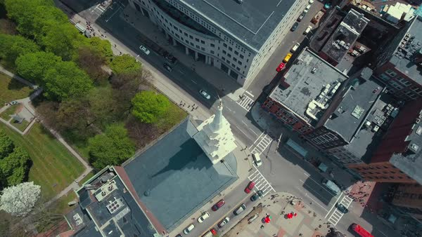 Aerial shot of Park Street Church in Boston Royalty-free stock video