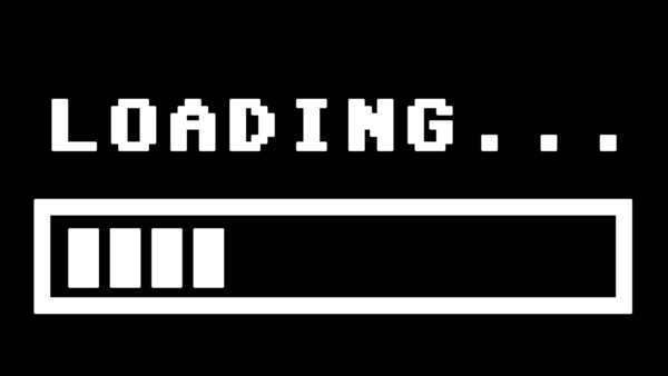 Simple white 8-bit retro style loading text with progress bar. Royalty-free stock video