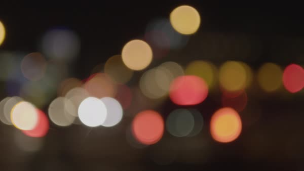 Out of focus view of street lights at night Royalty-free stock video