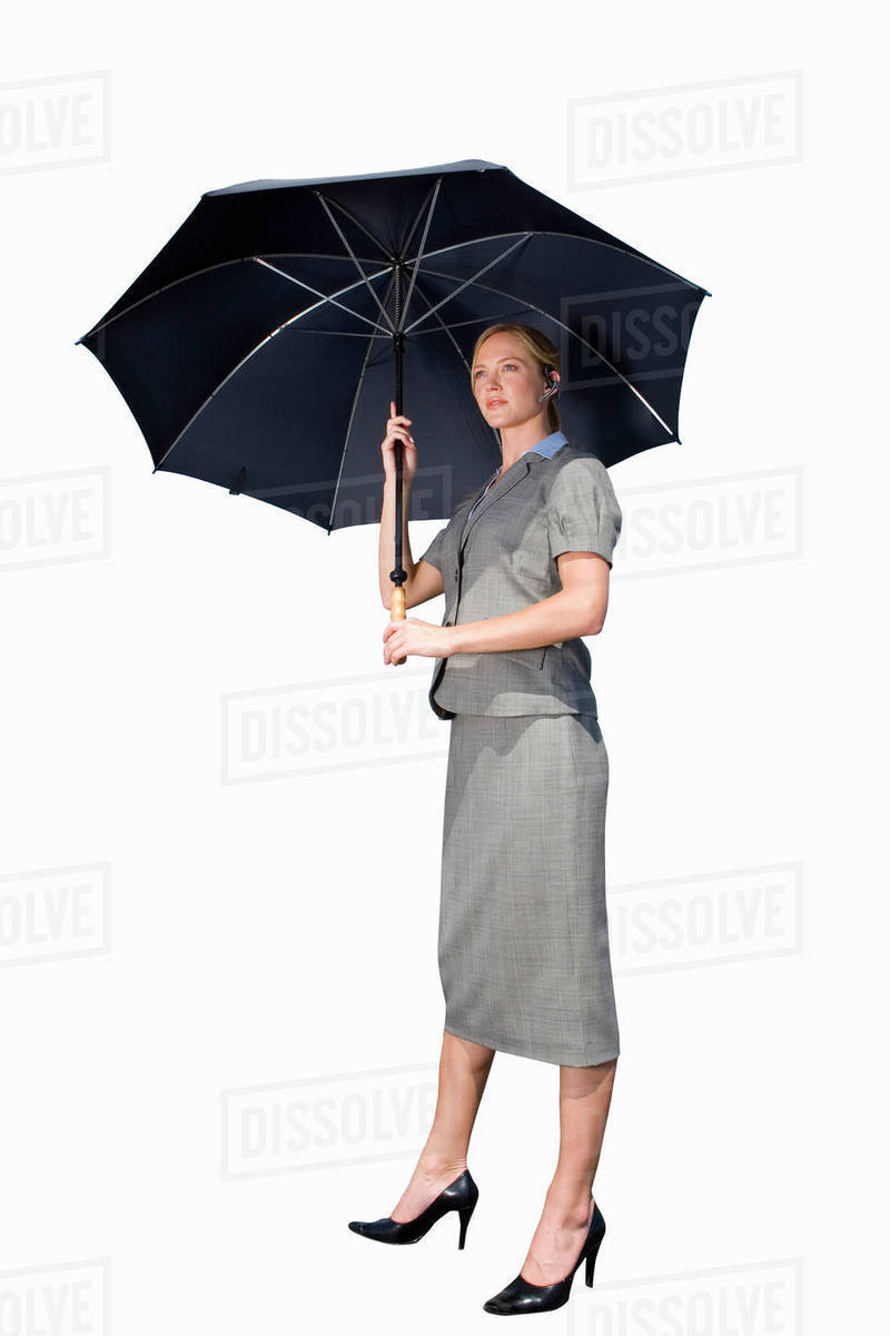 Businesswoman With Umbrella Cut Out
