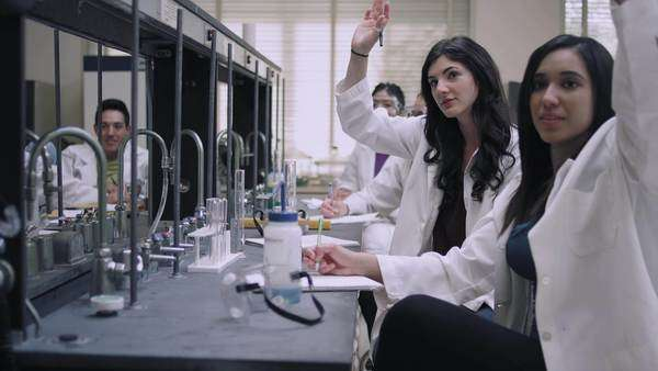 Students in a science lab listen to their professor and raise their hands Royalty-free stock video