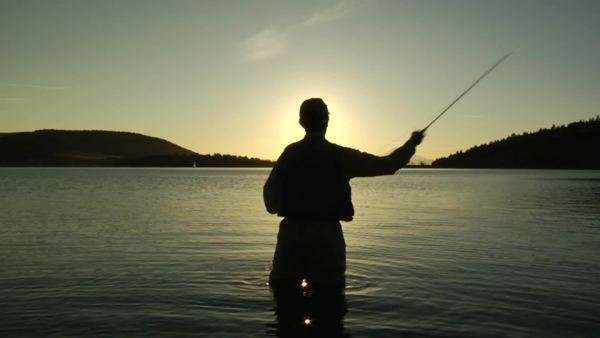 Fly fishing Silhouette Royalty-free stock video