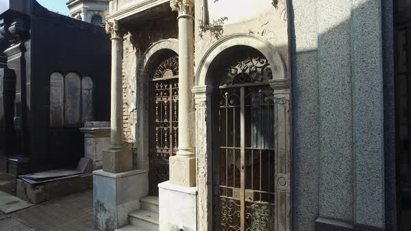 Cementario Recoleta pan up crypts Royalty-free stock video