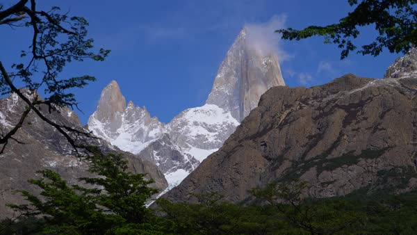 El Chalten Fitzroy range with tree silhouette foreground Royalty-free stock video