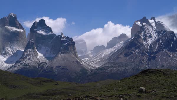 Pan to the right across Torres del Paine mountains Royalty-free stock video