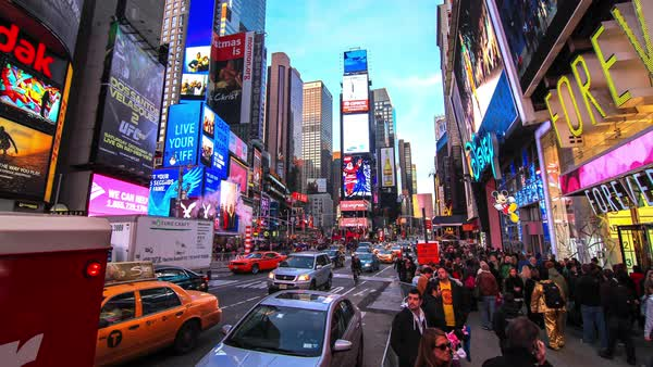 Timelapse of traffic and pedestrians at Times Square, New York City, New York State, United States of America Royalty-free stock video