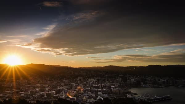 Timelapse of Wellington cityscape during sunset, New Zealand Royalty-free stock video