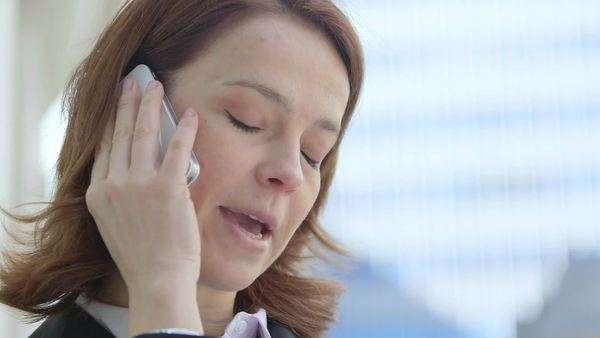 Business woman makes  a call, close-up Royalty-free stock video