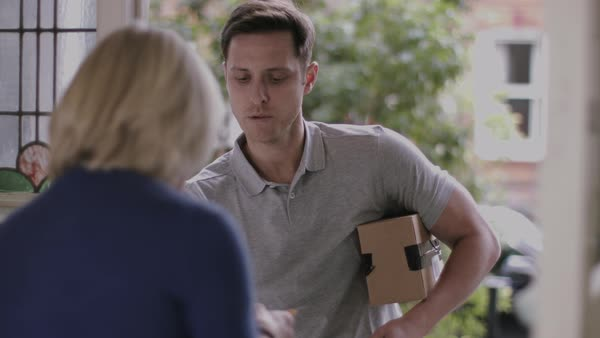 Delivery man delivering parcel at home Royalty-free stock video