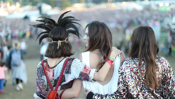 Young adult female friends having fun at festival Royalty-free stock video