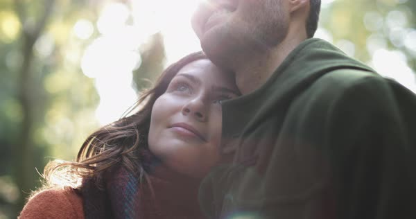 Couple in forest in Fall Royalty-free stock video