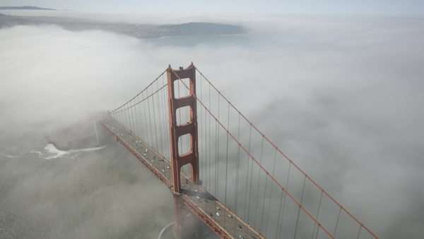 Aerial view over the Golden Gate Bridge in San Francisco, USA Royalty-free stock video