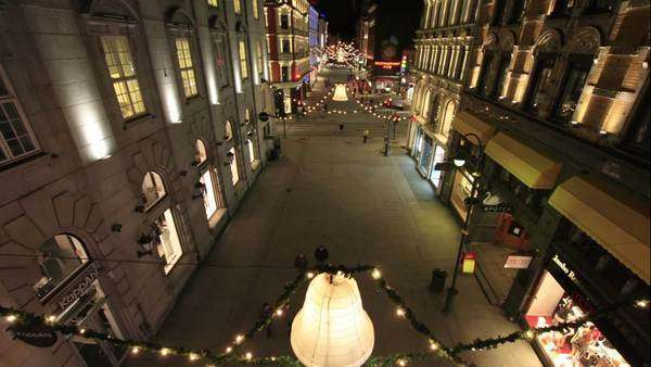 Crane shot of Karl Johans gate in Oslo at night Royalty-free stock video