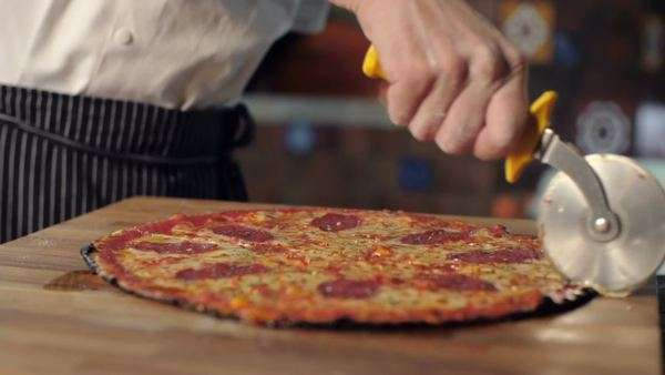 Close up of pizza sliced into eight parts Royalty-free stock video