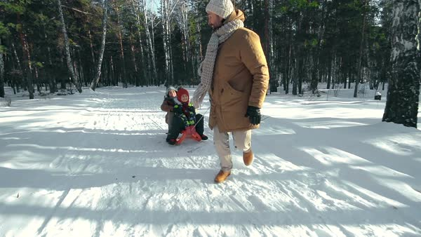 Cheerful dad pulling a sled with his ecstatic kids Royalty-free stock video