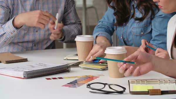 Close-up of designers choosing best color for new interior Royalty-free stock video