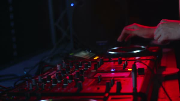 Close up of equalizer and hands of dj scratching turntable Royalty-free stock video