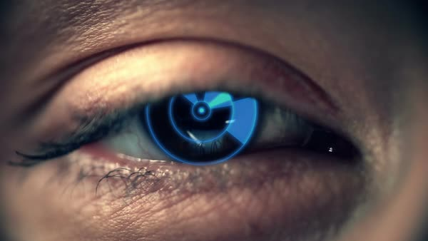 Macro shot of human eye with implanted robotic electrode Royalty-free stock video
