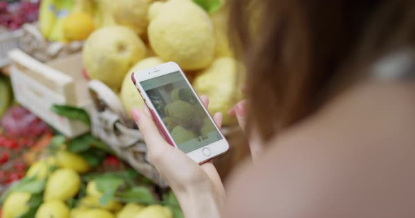 Woman taking photo of lemon stand with phone Royalty-free stock video