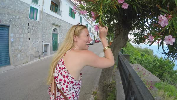 Young woman travelling in beautiful Italy Royalty-free stock video