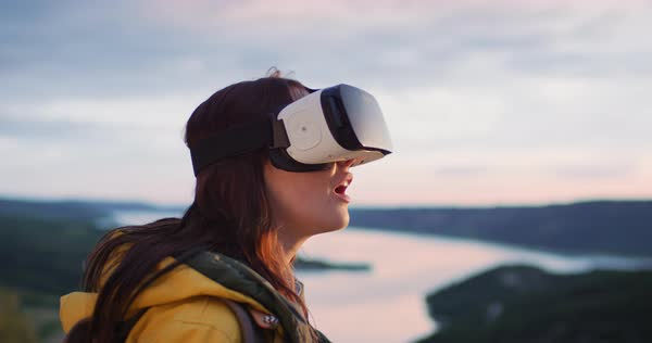 Young woman wearing virtual reality headset watching 360 video imagination vr concept Royalty-free stock video