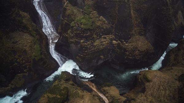 Waterfalls of Fjadrargljufur Canyon. Kirkjubaejarklaustur, Iceland. Royalty-free stock video