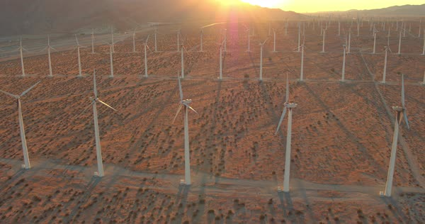 Aerial View Wind Turbines Spinning At Sunset, Clean Sustainable Renewable Energy Royalty-free stock video