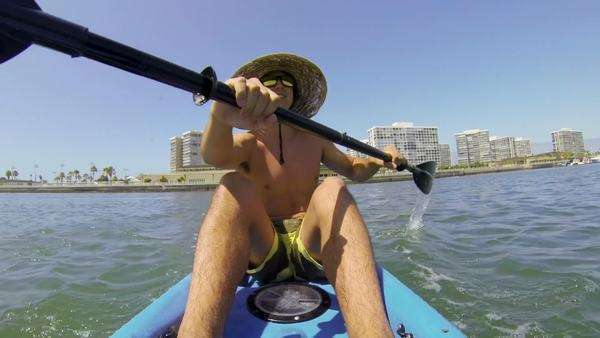 POV Man Kayaking In Ocean Royalty-free stock video
