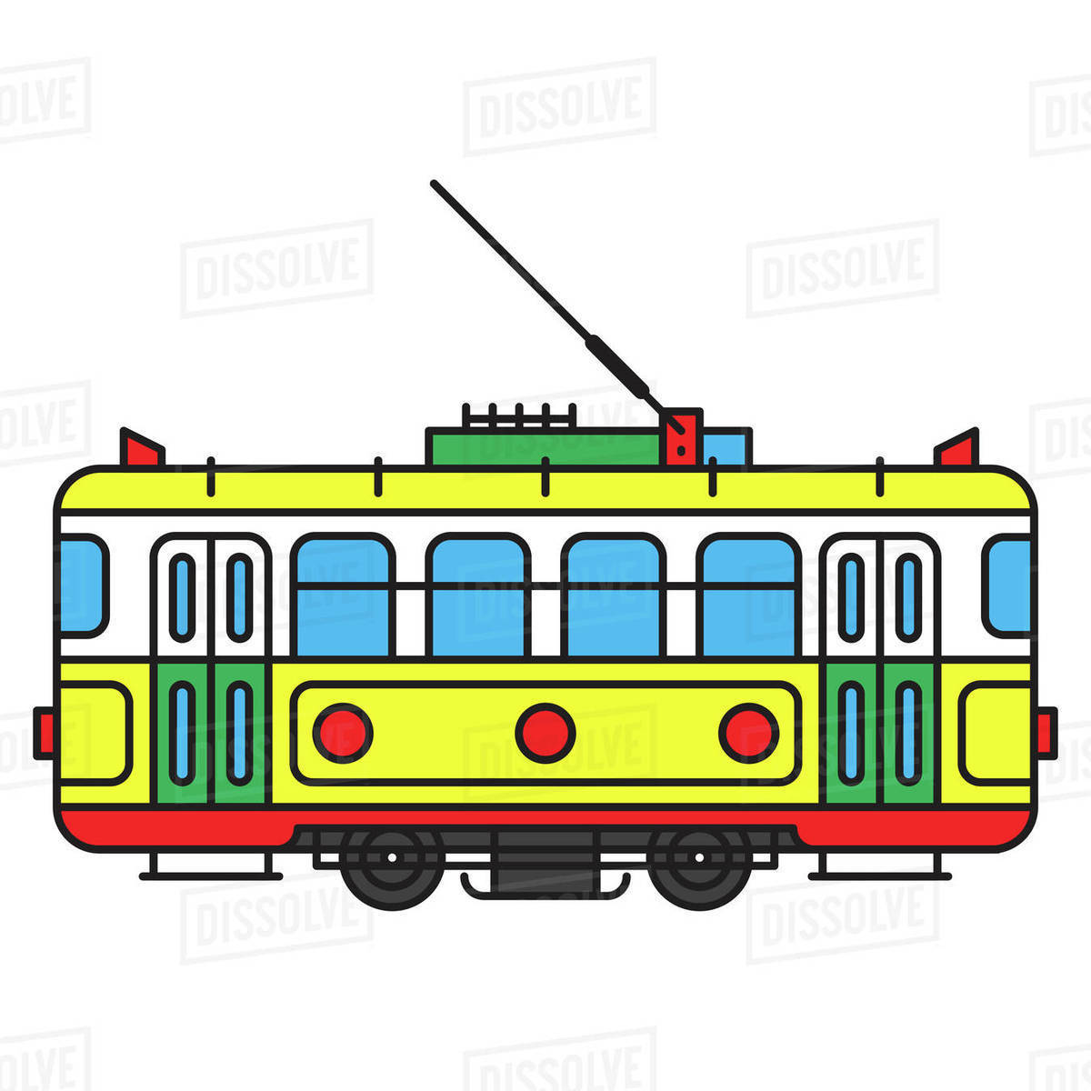 Illustration of a retro tram against white background Royalty-free stock photo