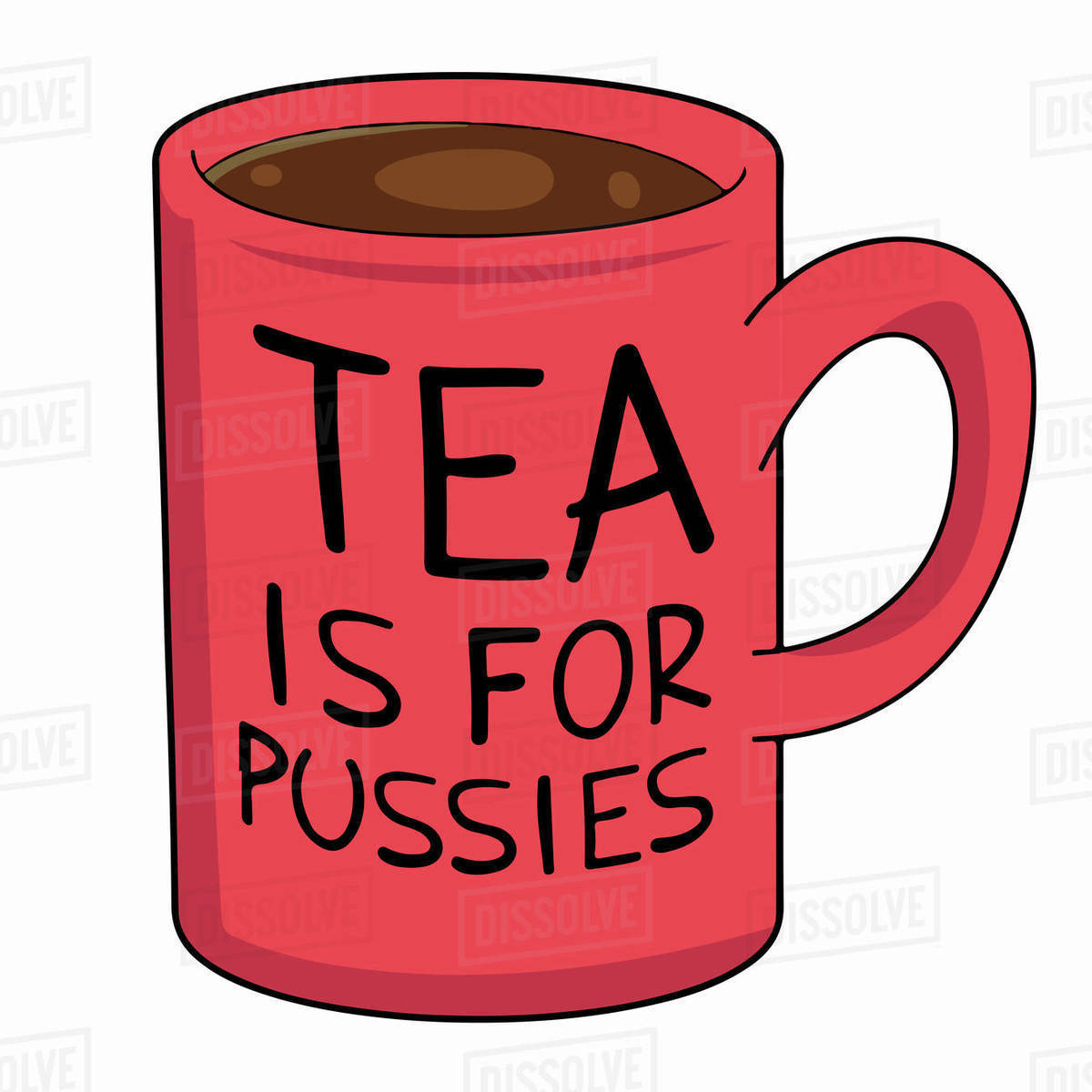 Illustration of tea mug with slogan against white background Royalty-free stock photo
