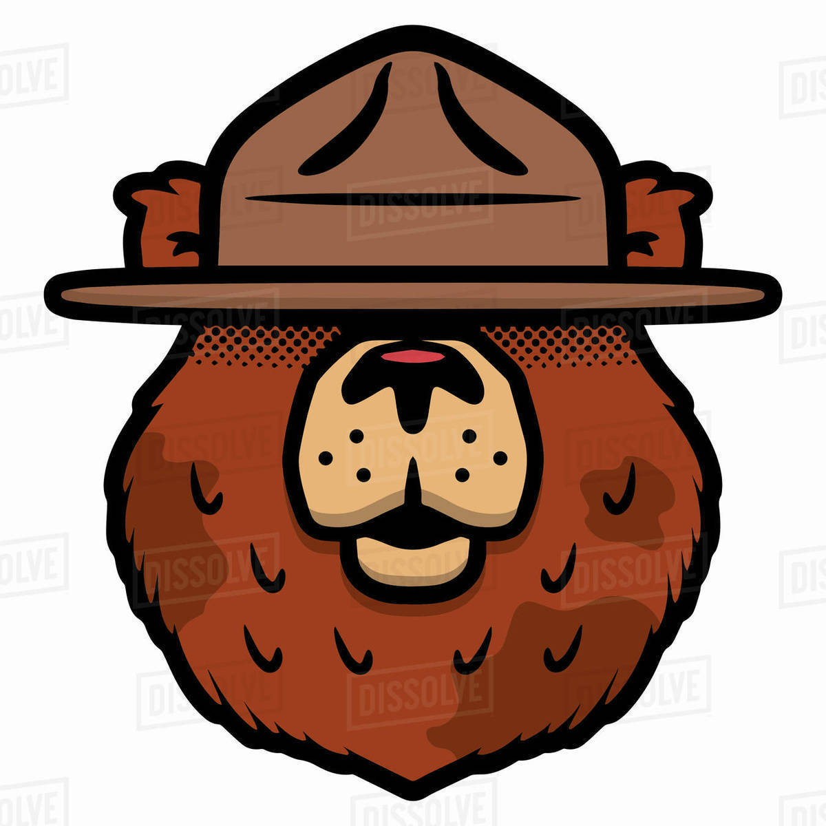 Cartoon illustration of a bear wearing hat against white background Royalty-free stock photo