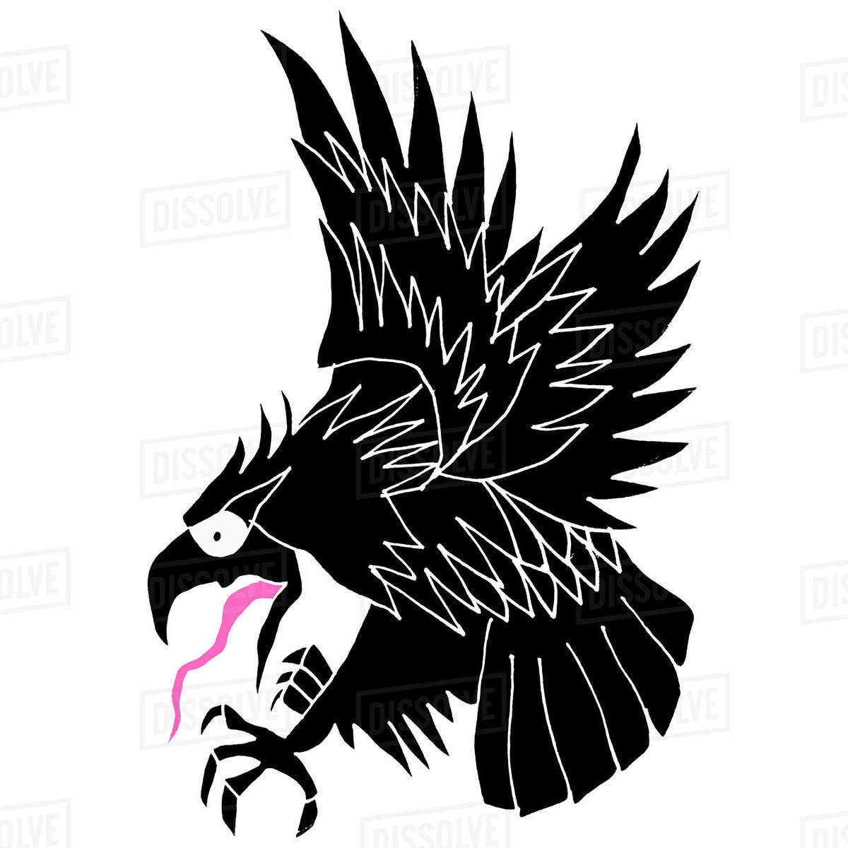 Illustration of flying eagle against white background Royalty-free stock photo