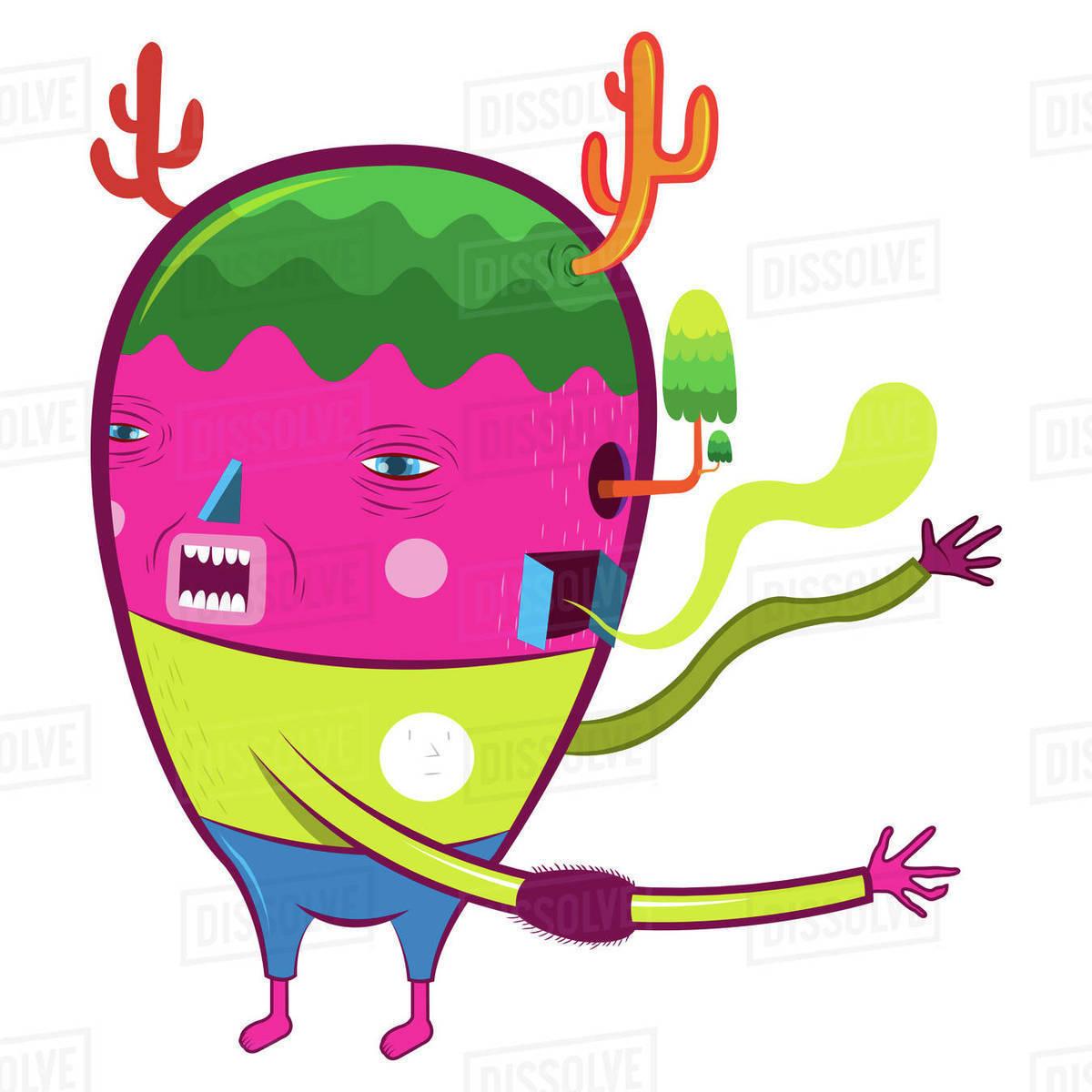 Cartoon Illustration Of Pink Tree Monster Against White Background Stock Photo Dissolve 3d cartoon dead tree monster created and rendered in blender. dissolve